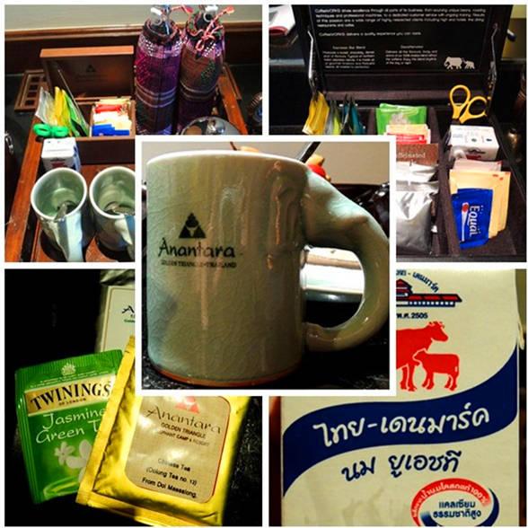 房間內提供的水用特色的編織小袋套著,還有茶包與咖啡