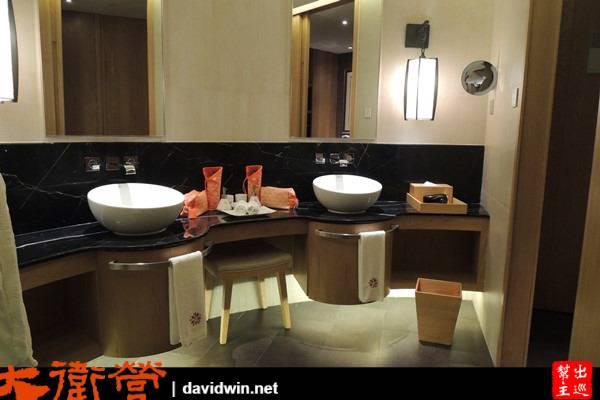 浴室的設計採半開放的設計,沒有生硬的牆體,洗漱台又大又豪華