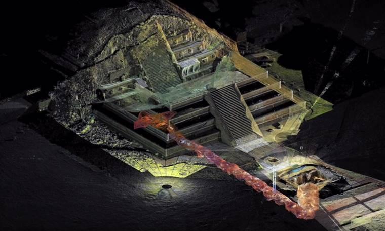月亮金字塔下方經過CT掃描後發現地道的示意圖