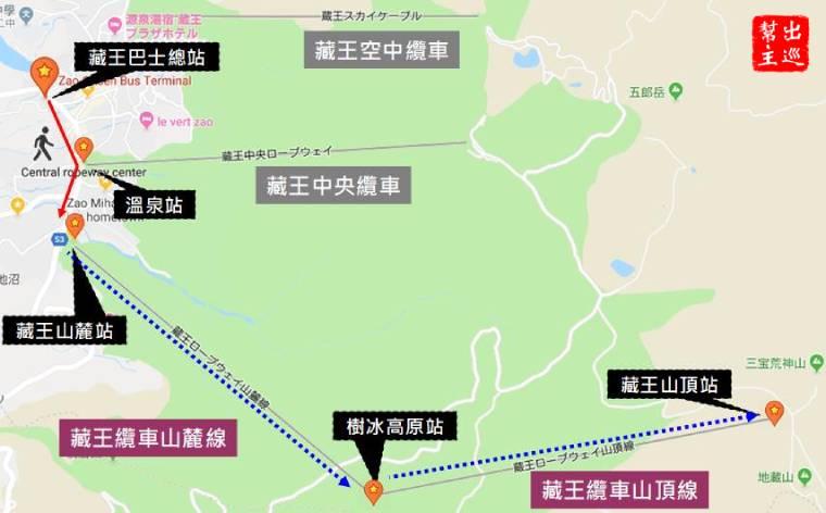 日本藏王旅行地圖