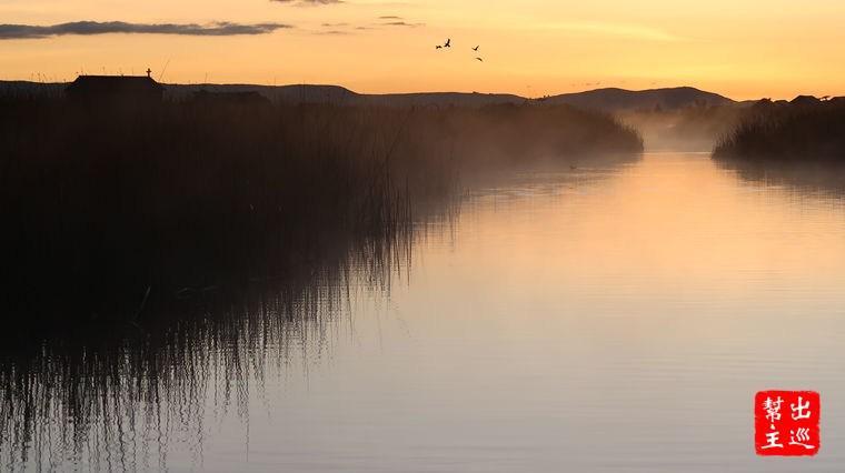 天色剛要開始轉亮,我們正遇上了的的喀喀湖的日出