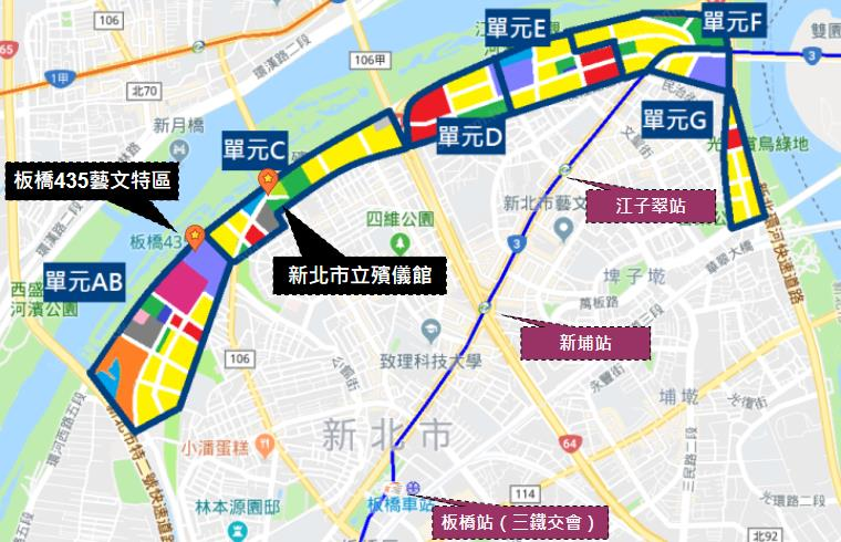 江北重劃區範圍分布