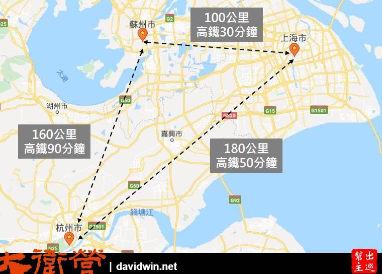 上海蘇州杭州之間的距離地圖