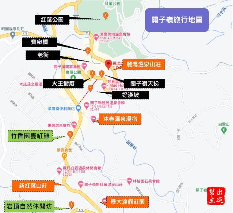 關子嶺周邊旅行地圖